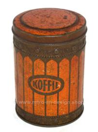Bote de café de hojalata naranja / rojo vintage de los años 30 con inscripción COFFEE