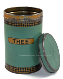 Vintage old reseda green tea tin, 1950s