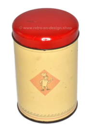 Small cream-colored biscuit or rusk tin by Bolletje with red lid, vintage