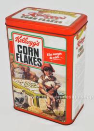 Vintage blik Kellogg's Cornflakes, rood-oranje bewaarbus, elke morgen de echte...