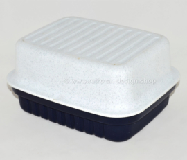 Vintage Tupperware cracker server in dark blue and white with speckles
