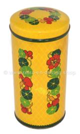 Lata Verkade vintage amarilla cilíndrica con capuchinas