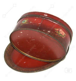 Oval vintage antique dark red candy tin with flower decoration and saucer