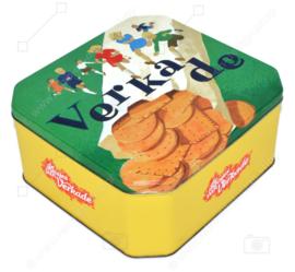 """Boîte carrée vintage """"Les filles de Verkade"""" verte avec du jaune"""