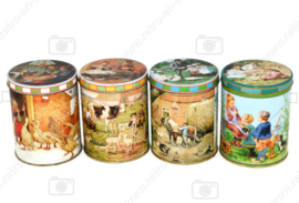 Series of four seasonal tins made by Jamin with images of Ot and Sien by C. Jetses