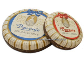 Vintage set of two round Baronie chocolate tins