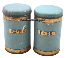 Brocante set coffee and tea containers from the '40s - '50s