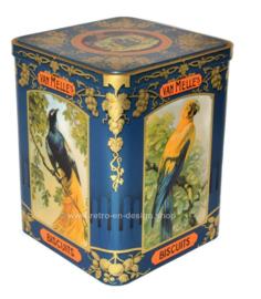 Blikken trommel Van Melle toffees met aan drie zijden afbeelding van verschillende tropische vogels
