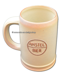 Vintage ceramic beer mug from the 1960s, Amstel Bier
