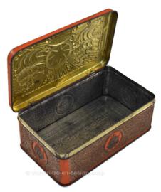Lata de tabaco en naranja / oro en relieve con barcos para el tabaco estrella de Niemeijer