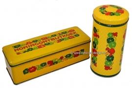 Vintage set Verkade honingontbijtkoekblik en beschuitbus Oost-Indische kers