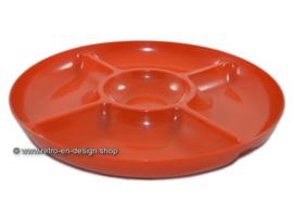 Ronde vintage plastic snackschaal, oranje