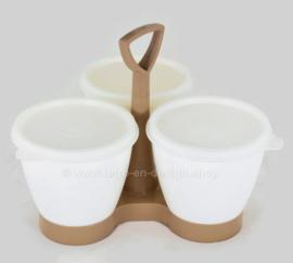 Tupperware Condimate Set oder Servier Karussell, hellbrauner Caddy mit weißen Tassen