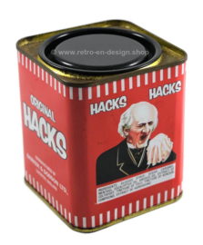 Small rectangular red tin by HACKS with image of man with handkerchief,
