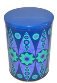 Vintage large blue tin by Tomado with psychedelic Kaleidoscope effect