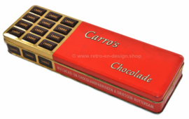 Elongated vintage tin with embossed lid for Carro's chocolates by A.DRIESSEN Rotterdam