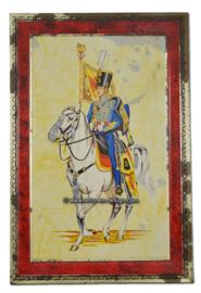 Vintage blik met militair, ruiter  te paard, cavalerie