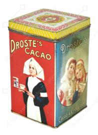 """Boîte à cacao vintage carrée avec couvercle amovible, """"Droste's Cacao"""", Deux filles de Haarlem"""