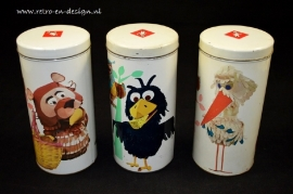 Set vintage Dutch rusk canisters 'The Daily Fable'
