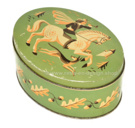 Oval biscuit tin by Verkade Zaandam with horse, rider, hunting dog and tendril of oak leaf with acorns