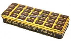 Lata rectangular Vintage Driessen Chocolade Carros, años 20, años 30