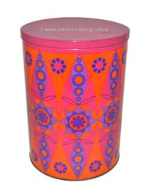 Oranje\paarse vintage blikken Tomado trommel met Kaleidoscope effect