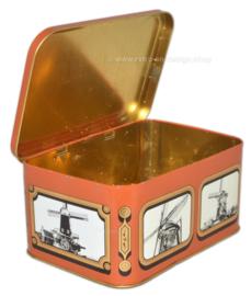Boîte étain vintage pour spéculums de S.R.V. service laitier avec photos de moulins