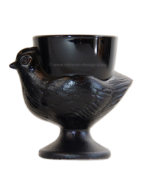 Set of six black egg cups in the shape of a chicken by Cristal d'Arques-Durant