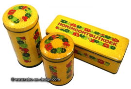 Vintage set of tins, cans, drums by Verkade with Nasturtiums