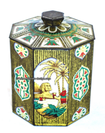 Vintage octagonal tin with pictures of pyramids and Sphinx