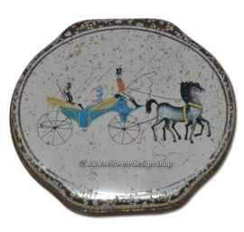 Vintage oval tin box by ALBERT HEIJN with image of a carriage with horses