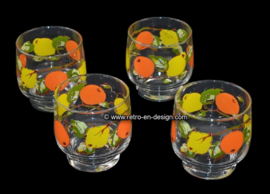 Vintage lemonade glasses, fruit decor