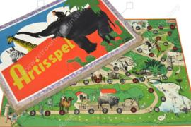 Bordspel Artisspel met vermelding 'De op dit spel voorkomende dieren zijn in levende lijve in Artis te Amsterdam te zien! - 1941