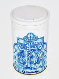 White rusk tin depicting old Dutch bakery for Twente rusk by BOLLETJE