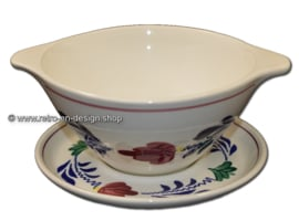 Boch Boerenbont soup bowl with saucer