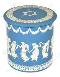 Vintage Wedgwood Jasperware Style Blechdose in Blau und Weiß mit tanzenden griechischen Musen