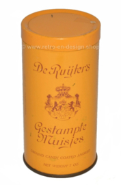 Dark yellow vintage tin canister for the RUIJTER'S ground candy coated aniseed, gestampte muisjes