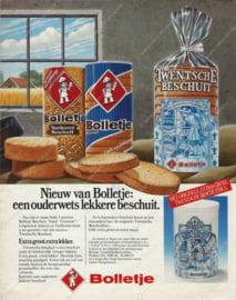 Weiße Zwiebackdose mit Darstellung einer alten niederländischen Bäckerei für Twente-Zwieback von BOLLETJE