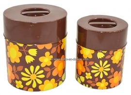 Set of two vintage early '70s tins, flower power