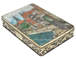 Rectangular vintage tin by Patria Biscuits with Amsterdam canal houses and the Wester Tower