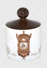 Zuckerdose aus Porzellan mit dem Bild einer Brabanter Uhr. Herausgegeben von Nutroma / Mitterteich Porzellan (Uhrengeschirr)