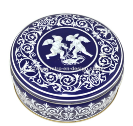 Round blue and white biscuit tin with cherubs, chubby child figure with wings