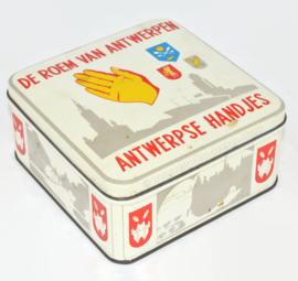 """Lata cuadrada vintage """"De roem van Antwerpen - Antwerpse handjes"""