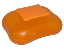 Transparent orange vintage Alessi Biscuit box 'Mary Biscuit' by Stefano Giovannoni