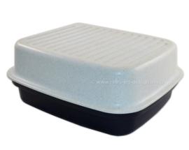 Caja de pan Tupperware vintage o caja de panadería moteada azul / blanco
