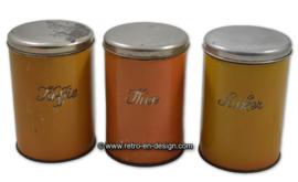 Vintage/brocante set Koffie, Thee en Suiker bussen