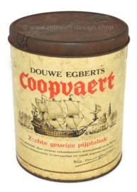 Rond vintage Douwe Egberts blik, Coopvaert pijptabak 250 gram