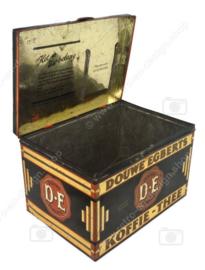Rechthoekige vintage blikken winkeltrommel van Douwe Egberts Koffie en Thee fabrieken
