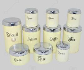 DIX boîtes de conserve vintage pour biscottes, café, thé, sucre, cacao et épices fabriquées par Brabantia ca. 1955-1965