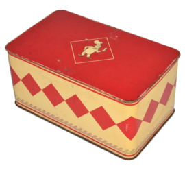 Vintage cookie tin by Bolletje with red lid